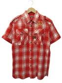 ジースター G-STAR RAW シャツ 半袖 チェック エポーレット 胸ポケット スナップボタン 刺繍 コットン M 赤 レッド Y50418 メンズ 【ベクトル 古着】【中古】 160714