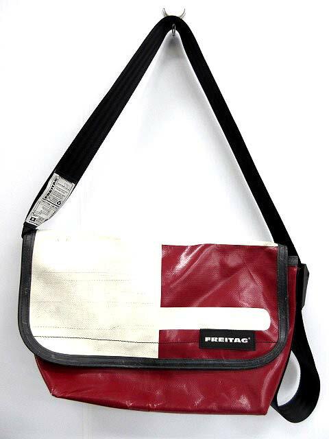 フライターグ FREITAG ショルダーバッグ メッセンジャー スポーツバッグ 赤 レッド 白 ホワイト /☆J2 メンズ 【ベクトル 古着】【中古】 160604