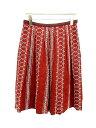 アマカ AMACA スカート ひざ丈 刺繍装飾 フレア 38 赤 /OH63 レディース 【ベクトル 古着】【中古】 160806