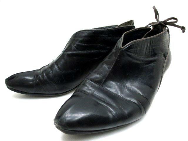 レノマ renoma ブーツ ブーティ ローヒール ラウンドトゥ リボン レザー ブラック 35.5 ※YN レディース 【ベクトル 古着】【中古】 160914