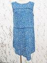 ユニクロ UNIQLO ワンピース ミニ ノースリーブ ドット リネン L 青 レディース 【ベクトル 古着】【中古】 160802