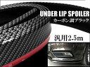 車用 汎用 アンダーリップモール バンパー ガード 2.5M リップスポイラー カーボン調ブラック ガリ傷防止