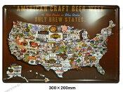 同梱可 ブリキ看板 ブリキプレート 20cm×30cm(19) アメリカ地図