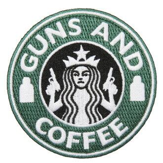 밀리터리 헝겊 GUNS AND COFFEE 헝겊 (패치) 벨크로 부착 된 GREEN&WHITE L