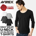AVIREX アビレックス 8分袖 Uネック Tシャツ デイリーウエア 6143509 無地 白 Uネック インナー トップス メンズ mss WIP 10P0...