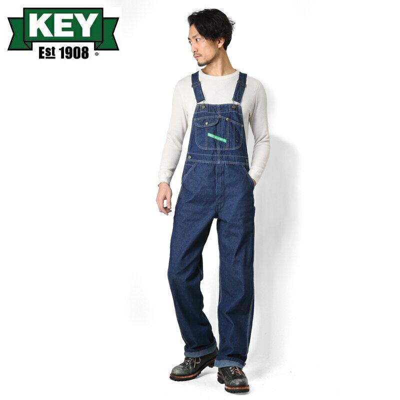 店内20%OFF開催中◆KEY キー Bib Overalls ビブオーバーオール ハイバック ONE WASH【KEY273-WA】 WIP メンズ ミリタリー アウトドア