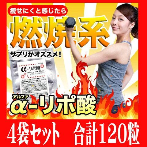 アルファリポ酸 30カプセル×4袋セット 計120カプセル (1粒当たり α-リポ酸 50mg + カテキン アスタキサンチン配合) 燃焼系ダイエットサプリ「1620円以上の購入で送料無料」