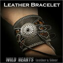 WILD HEARTS/レザー ブレスレット リストバンド 牛革 パイソン コンチョ/Leather Biker Wrist Band/Bracelet/Con...