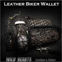 送料無料!三つ折り財布 ロングウォレット 長財布 バイカーズウォレット パイソン/ オニキスCarved Leather 3/Tri-fold Biker Wa...