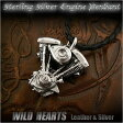 ショッピングハーレーダビッドソン シルバー925 ハーレーダビッドソン Vツイン ショベルヘッド エンジン ペンダントHarley Davidson Motorcycle Engine V-Twin, Shovel Evolution Engine Sterling Silver Pendant NecklaceWILD HEARTS Leather&Silver(ID pt2786)