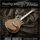 ショッピングHEARTS ギターペンダントトップ ネックレストップ シルバー925 楽器アクセサリー Silver Guitar Electric Guitar Pendant Hard Rock WILD HEARTS leather&silver(ID pt1520)