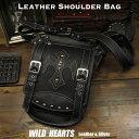 ショッピングブラック メンズ レザー 本革 ショルダーバッグ クロス 斜め掛け カジュアル パイソン ブラック/黒Men's Genuine Leather Casual Shoulder Bag Cross ConchoWILD HEARTS Leather&Silver (ID bb0658t17)
