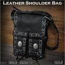 ショルダーバッグ 本革/レザー/メンズ メッセンジャーバッグ ブラック/黒 Cowhide Leather shoulder bag Mens Messenger bag BlackWILD HEARTS Leather Silver (ID sb1490k10)