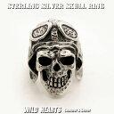 ショッピングHEARTS パイロットスカルリング キースリング Skull Pilot Ring Motorcycle Punk STERLING SILVER RING WILD HEARTS Leather&Silver (ID sr0780r321)