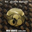 家紋コンチョ 戦国武将 毛利元就 家紋 一文字三ツ星 真鍮Family Crests of Japan Samurai Family Crests Coat of Arms Brass Concho WILD HEARTS Leather&Silver (ID cc2223)