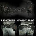レザーウエストバッグ ヒップバッグ 本革 レザー ユニセックス パイソン/Leather Waist Holster Travel Hip Pouch Belt Fanny Pack _ WILD HEARTS Leather&Silver (ID wb0970t16)