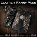 流行包, 飾品, 名牌配件 - レザーウエストバッグ ヒップバッグ レザー/牛革 パイソン柄 コンチョGenuine Leather Fanny Pack Waist Bag Hip bag Belt PouchWILD HEARTS Leather&Silver (ID wb0873r23)