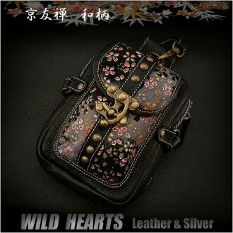 일본의 전통 염색 염색 직물 및 가죽 허리 파우치 엉덩이 가방 와일드Japanese traditional yuzen-dyed fabric & Leather Waist Pouch Hip Bag WILD HEARTS Leather & Silver  Item ID wp0736t18