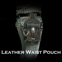 Genuine/Cow/Leather/Waist/pouch/Belt/Loop/Pouch/Hip/Pouch/Medicine/Bag/WILDHEARTS/Leather&Silver