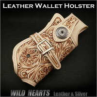 Biker/Wallet/Holster/case/WILD/HEARTS/leather&silver