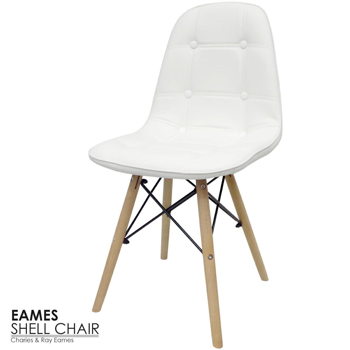 送料無料 イームズ チェア DAW イームズチェア シェルチェア 木脚 デザイナーズ 家具 椅子 いす ダイニングチェア 北欧テイスト デザイナーズチェア ホワイト スクープ PUレザー 【EM-14】