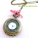 ★ベロアリボン付きレースみたいなアンティーク調ペンダント懐中時計