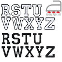アイロンワッペン//アルファベット R S T U V W X Y Z 2色 ホワイト/ブラック (イングリッシュ 英語 English おなまえ)