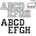 アイロンワッペン//アルファベット A B C D E F G H 2色 ホワイト/ブラック (イングリッシュ ローマ字 アップリケ お名前)