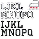 アイロンワッペン//アルファベット I J K L M N O P Q 2色 ホワイト/ブラック (ネーム お名前 英語 アップリケ 文字)