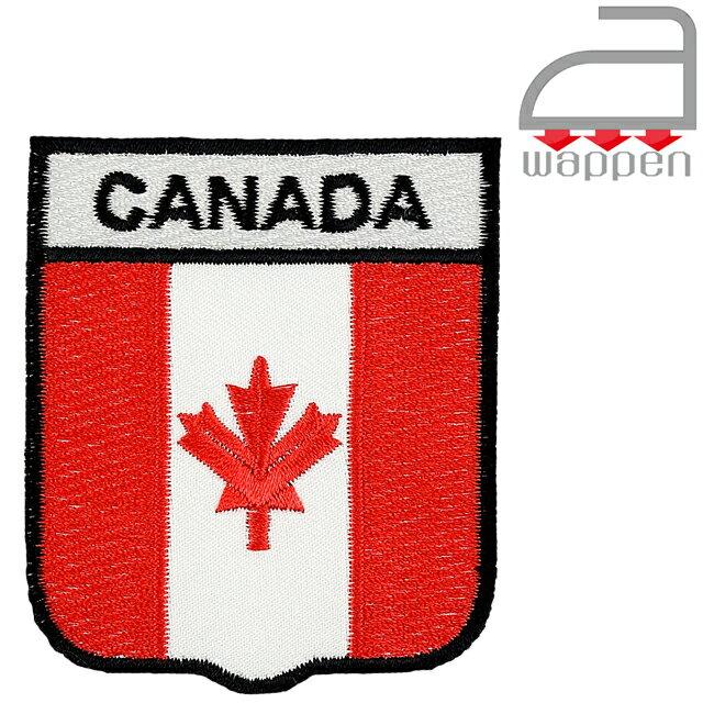 アイロンワッペン//カナダ国旗エンブレムタイプ「CANADA」文字入りメイプルリーフ(NHLバンクー