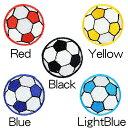 アイロンワッペン//サッカーボール ミニサイズ2枚セット ブラック/イエロー/レッド/ライトブルー/ブルー (フットサル soccer)