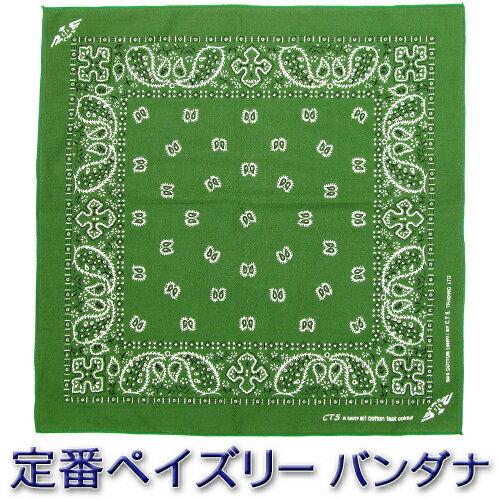 バンダナ || ペイズリー柄 ベーシックカラー ダークグリーン/深緑色 コットン100% (ハンカチ 三角巾 弁当箱)