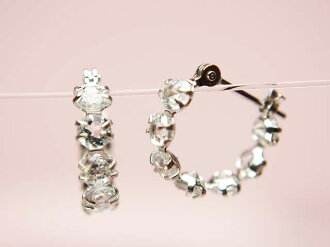 K14WG natural aquamarine & white cubic snap earrings