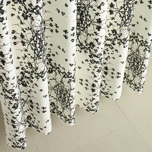 遮光カーテン リーフ柄 ブラック セリー 幅150cm×丈230cm2枚 北欧柄【丈直しOK(有料)】