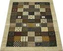 高級ペルシャギャベ ラグ カーペット ウール100% ギャッベ絨毯 天然草木染め 手織り RIZBAFT.B リーズバフト 約158×242cm PG11003 (Y) ブラウン系 引っ越し 新生活
