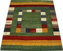 ペルシャギャベ ラグ カーペット ウール100% ギャッベ絨毯 天然草木染め 手織り GABBEH NOMAD ノマド 約198×281cm PG5660 (Y) グリーン系 引っ越し 新生活