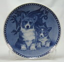 犬の絵皿・ウェルシュ・コーギー・ペンブローク親子・#3001