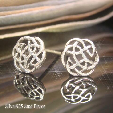 【シルバーピアス】薔薇の花弁のような円形幾何学模様が美しい!イバラ模様のスタッドピアス 【スタッドピアス レディースピアス】【楽ギフ_包装選択】