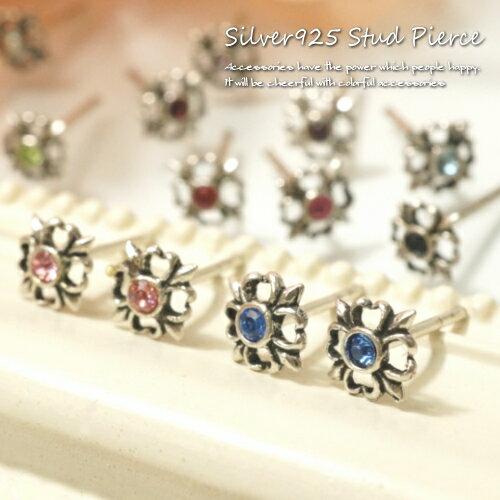 シルバーピアス お花の様な紋章の様なモチーフのストーンがきらりと光るスタッドピアス シルバー925 silver925 シルバーアクセサリー フラワー レディースピアス