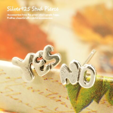 【シルバーピアス】可愛らしいPOPな書体の「YE...の商品画像
