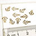 ショッピングチャーム 錨 アンカー イカリ 夏 海 ゴールド プレート 10個1セット アクセサリーパーツ 手作り ハンドメイド 材料