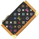 ルイヴィトン コインケース モノグラム マルチカラー ポシェット クレ M92654 ノワール 中古 コンパクトウォレット 小銭入れ キーホルダー キーケース ブラック レディース LOUIS VUITTON