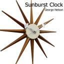 ジョージ・ネルソン おしゃれ 時計 サンバーストクロック 掛け時計 ウォールナットカラー 北欧モダン