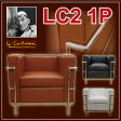 【ル・コルビジェ】LC2 1Pソファ Grand Comfort グランコンフォール Sofa デザイナーズ家具 1人用 LeCorbusier 本革 ブラック ブラウン ホワイト