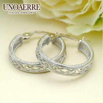 Unoaerre K18WG white gold hoop earrings fs3gm