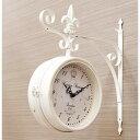 ステーションクロック ボースサイド L 時計 アンティーク ヨーロピアン 男前 掛け時計 両面時計 インダストリアル 新築 リフォーム リノベーション DIY 店舗 リビング 模様替え カフェ