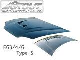 送料無料!STOUT/スタウト エアロボンネット カーボンタイプ シビック EG3/4/6 Type S