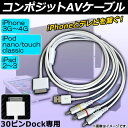 AP コンポジットAVケーブルfor iPhone/iPod/iPad 30ピン Dock RCA USB2.0 AP-TH133