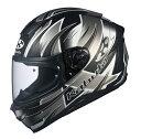 オージーケーカブト(OGK KABUTO)バイクヘルメット フルフェイス AEROBLADE5 HURRICANE(ハリケーン) フラットブラックシルバー Lサイズ