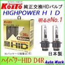 小糸製作所 KOITO 純正交換HIDバルブ ハイパワーHID D4R専用4200ケルビン 3200lm P35180